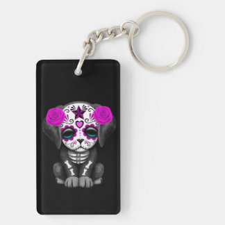 Cute Purple Day of the Dead Puppy Dog Black Keychain