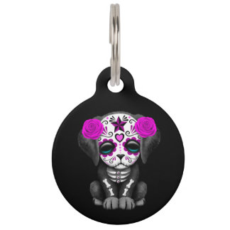 Cute Purple Day of the Dead Puppy Dog Black Pet Name Tag