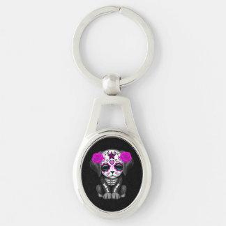 Cute Purple Day of the Dead Puppy Dog Black Key Chain