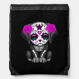 Cute Purple Day of the Dead Puppy Dog Black Drawstring Backpack