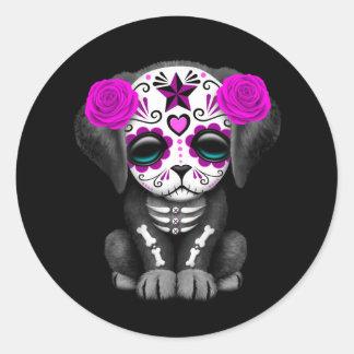 Cute Purple Day of the Dead Puppy Dog Black Classic Round Sticker