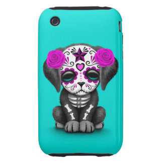 Cute Purple Day of the Dead Puppy Dog Blue Tough iPhone 3 Covers