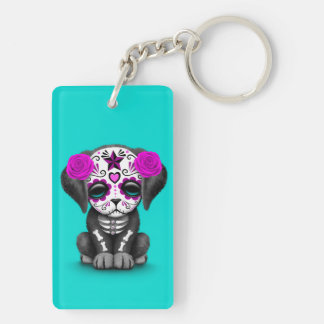 Cute Purple Day of the Dead Puppy Dog Blue Acrylic Keychains