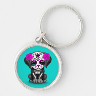 Cute Purple Day of the Dead Puppy Dog Blue Keychain