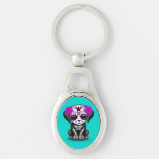 Cute Purple Day of the Dead Puppy Dog Blue Keychains