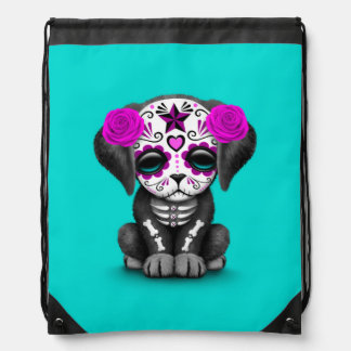 Cute Purple Day of the Dead Puppy Dog Blue Cinch Bags