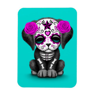 Cute Purple Day of the Dead Puppy Dog Blue Rectangular Photo Magnet