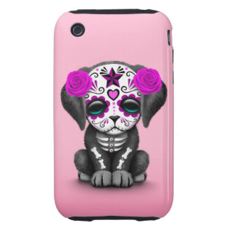 Cute Purple Day of the Dead Puppy Dog Pink Tough iPhone 3 Case