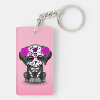 Cute Purple Day of the Dead Puppy Dog Pink Rectangle Acrylic Keychains