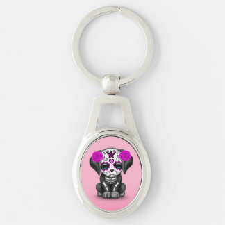 Cute Purple Day of the Dead Puppy Dog Pink Key Chains
