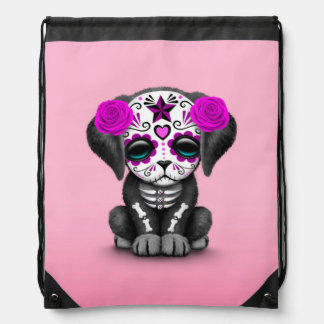 Cute Purple Day of the Dead Puppy Dog Pink Drawstring Bags