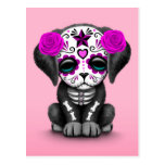 Cute Purple Day of the Dead Puppy Dog Pink Postcard