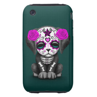 Cute Purple Day of the Dead Puppy Dog Teal Tough iPhone 3 Case