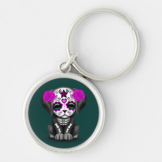 Cute Purple Day of the Dead Puppy Dog Teal Key Chain