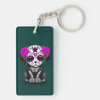 Cute Purple Day of the Dead Puppy Dog Teal Acrylic Key Chain