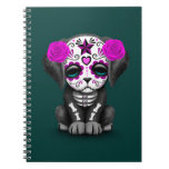 Cute Purple Day of the Dead Puppy Dog Teal Spiral Note Book
