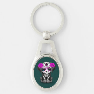 Cute Purple Day of the Dead Puppy Dog Teal Keychain