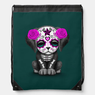 Cute Purple Day of the Dead Puppy Dog Teal Drawstring Bag
