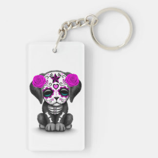 Cute Purple Day of the Dead Puppy Dog White Acrylic Keychains