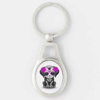 Cute Purple Day of the Dead Puppy Dog White Keychain