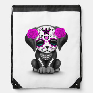 Cute Purple Day of the Dead Puppy Dog White Drawstring Bags