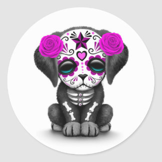 Cute Purple Day of the Dead Puppy Dog White Classic Round Sticker