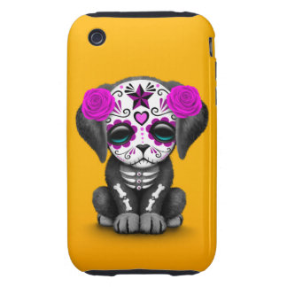Cute Purple Day of the Dead Puppy Dog Yellow Tough iPhone 3 Case