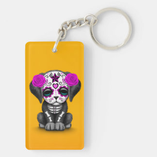 Cute Purple Day of the Dead Puppy Dog Yellow Rectangle Acrylic Key Chain