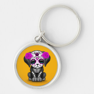 Cute Purple Day of the Dead Puppy Dog Yellow Key Chain
