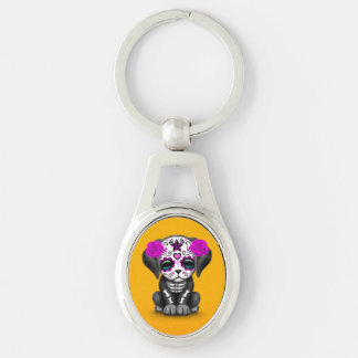 Cute Purple Day of the Dead Puppy Dog Yellow Keychains