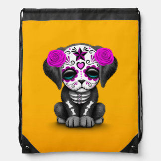 Cute Purple Day of the Dead Puppy Dog Yellow Backpacks
