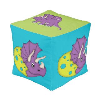 Cute Purple Dinosaur/Egg Cube Pouf