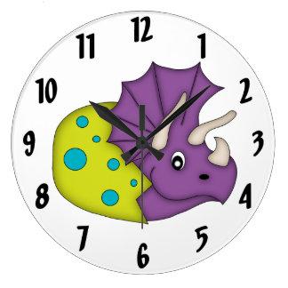 Cute Purple Dinosaur/Egg Kid's wall-clock Wall Clock