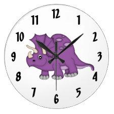 Cute Purple Dinosaur Kid's wall-clock/Medium