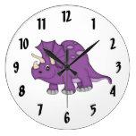 Cute Purple Dinosaur Kid's wall-clock/Medium Large Clock
