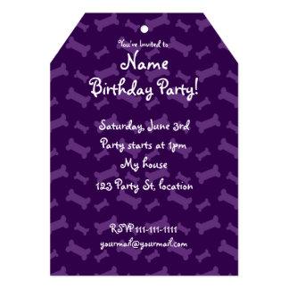 Cute purple dog bones pattern 5x7 paper invitation card