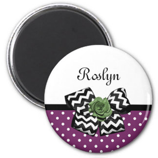 Cute Purple Dots Green Rose Chevron Bow With Name 2 Inch Round Magnet