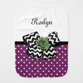 Cute Purple Dots Green Rose Chevron Bow With Name Burp Cloth