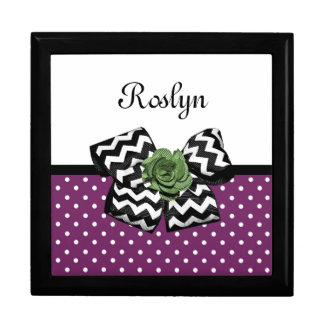 Cute Purple Dots Green Rose Chevron Bow With Name Gift Box