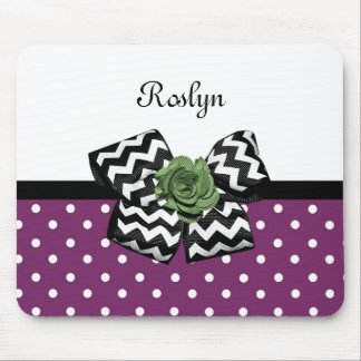 Cute Purple Dots Green Rose Chevron Bow With Name Mouse Pad