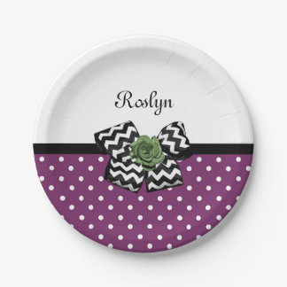 Cute Purple Dots Green Rose Chevron Bow With Name Paper Plate