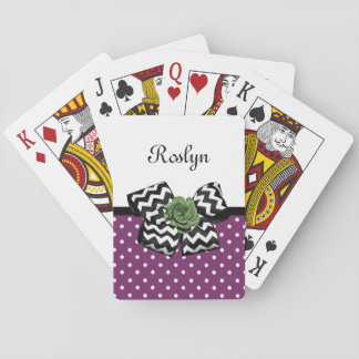 Cute Purple Dots Green Rose Chevron Bow With Name Playing Cards