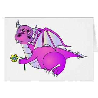 Cute Purple Dragon with Flower Card