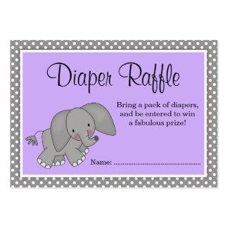 Cute Purple Elephant Baby Shower Diaper Raffle Large Business Card