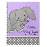 Cute Purple Elephant Baby Shower Guest Book Notebooks