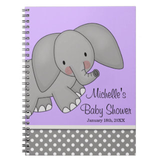 Cute Purple Elephant Baby Shower Guest Book Spiral Note Books