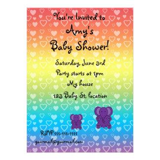 Cute purple elephant baby shower invitations
