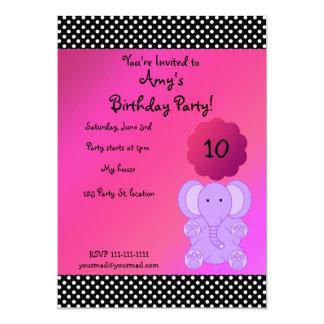 "Cute purple elephant birthday invitation 5"" x 7"" invitation card"