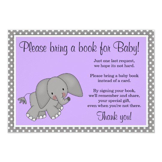 Cute Purple Elephant Girl Baby Shower Book Request Card