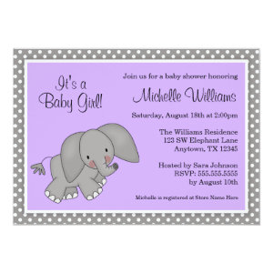 Cute Purple Elephant Girl Baby Shower Invitations 5